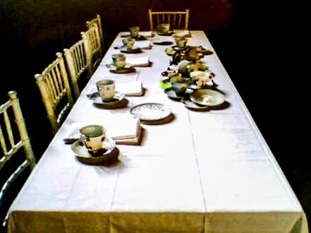 Everyone sat at a long table