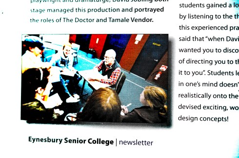 Jobling with Year 12 drama Students.